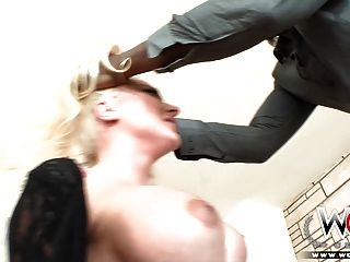 Blonde bombshell leya takes on a giant block cock 7