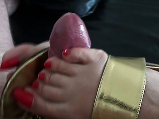Golden Leather Thongs & Toejob - Huge Cumshot