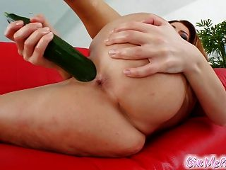 Veggie Fuck As Redhead Cums With Cucumber