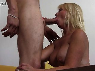 Lucky Old Mother Takes Young Cock