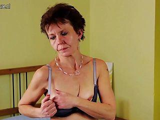 Old Skinny Hairy Mature Mom Masturbating