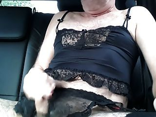 Crossdressed In Black Lace Lingerie To Cum In Car
