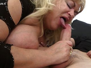 Busty Old Mom Fucks Young Boy