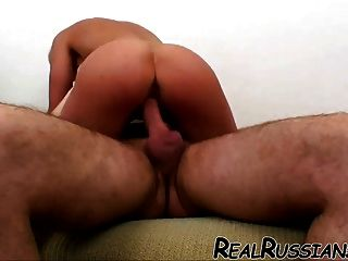 Euro Wife Gets Hard Sex On Couch !!