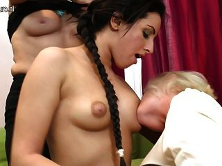 Old young lesbian threesome videos