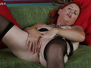 Pleasing hairy pussy her Granny