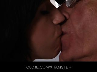 Wrinkled Grandpa Fucks A Hussy Teeny In Ass And Pussy