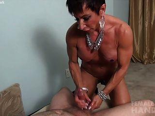 Muscle handjob female
