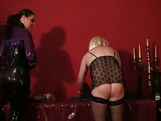 image Cfnm femdoms bind their sub before humiliation