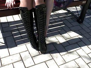 Natural Brunette - Ballet Heels & Latex Corset 1