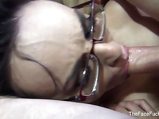 Sexy Babe In Glasses Takes His Cock Down Her Throat