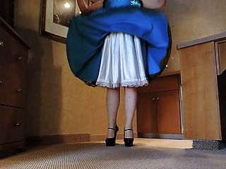 Sissy Ray In Blue Satin Dress In Kitchen