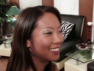 Gorgeous Brunette And Sexy Asian Share A Double Dildo (hd)