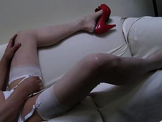 Red Heels, Sheer Pantys, White Rht Stockings And Double Cum!