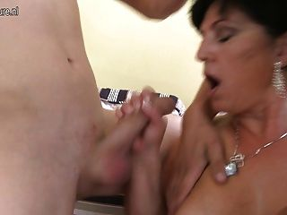 Mature Belle Mom Rides Two Young Cocks