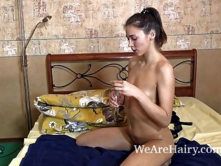 In Her Bedroom,hairy Teen Shakti Plays With A Toy