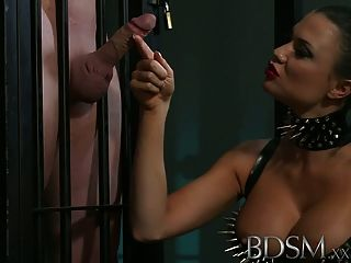 Bdsm Xxx Muscular Sub Is Caged And Humiliated By Mistress