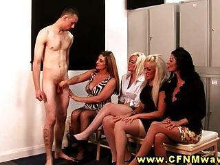 Cfnm Group Blow Their Interviewer In The Lockerroom