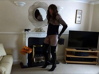 Sexy Transvestite In Thigh Boots With Her Butt Plug In