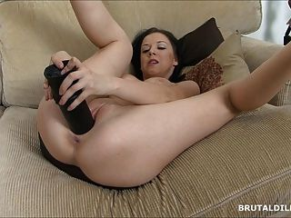 Two Big Brutal Dildos For This Babe