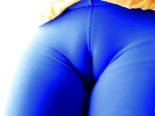 Round Ass Teen! In Tight Spandex Leggins! Best Cameltoe!