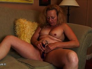 Hot American Mother Playing On The Couch