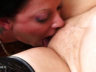 Teen Girl Gives Sexlessons To Mature Lesbian Mom
