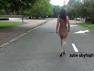 Cute Frenchteen In Suede Overknee Boots Teasing Minidress