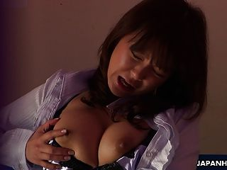 Japanese Babe With Large Tits Moans While Drilling Her Muff