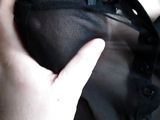 Touching Her Tits In A See-through Blouse