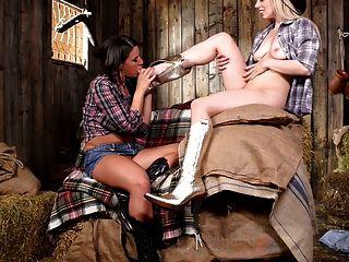 Two Cowgirls Having Fun On The Barn