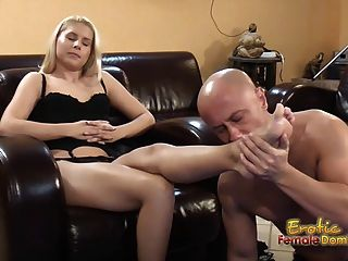 Blondes Tells Submissive To Lick And Eat Feet