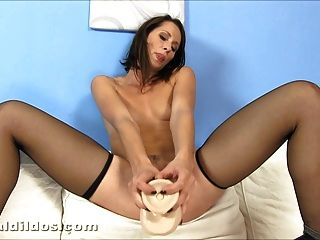 Big Dildo Insertion In Stockings