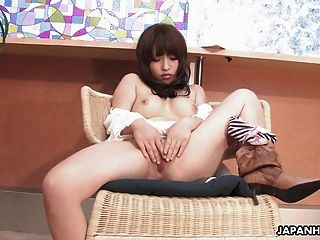 Alluring Japanese Teen Plays With Her Delicate Trimmed Pussy