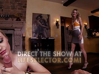 Hot Blonde Stepsisters Share A Big Cock.