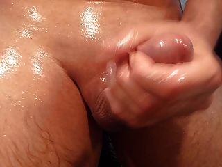 Cumshot Of My Oiled And Shaved Cock