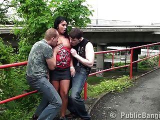 Pretty Girl Public Sex Threesome Part 1