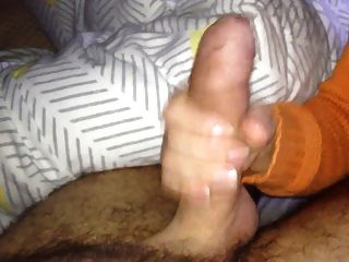 image Quick premature handjob cumshot from ebony girlfriend before bed