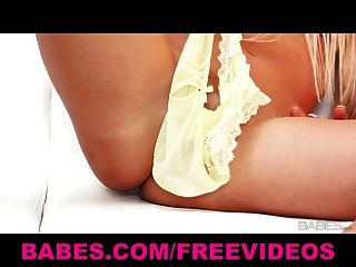 Sexy Solo Blonde Carla Cox Teases Her Pussy With Her Panties