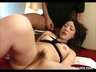 Tied And Toyed Asian Swallows A Load