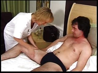 Skinny Blonde Granny Gets Creampie And Facial