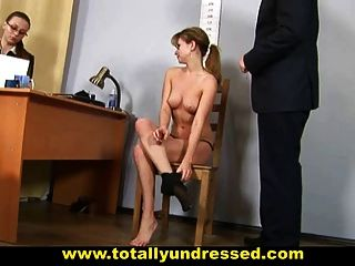 image Humiliating nude job interview for pretty young lady