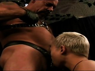 Vicious Leather Daddy Subdues Pussy Boy