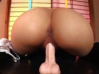 Japanese Schoolgirl Sucking And Riding Dildo