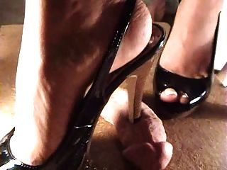 She Digs Her High Heels Into His Cock Shaft