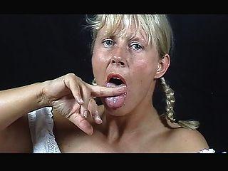 A Blond Cum Eater.....her Own
