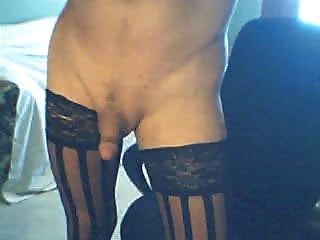 Classy Shemale In Black Stockings Smokes And Cums For You