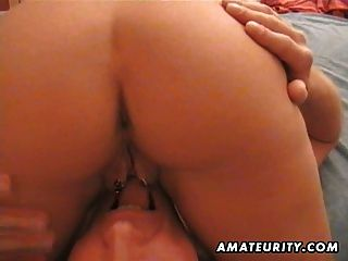 Amateur Milf Sucks And Fucks A Pierced Cock At Home