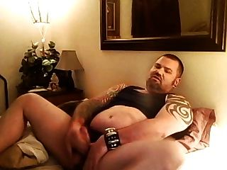 Hefty Tattooed Bear Jerks Off