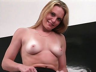 Professional Young Blonde Spreads Her Pink Pussy At Desk